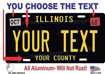 Illinois License Plate Personalized Custom Car Bike Motorcycle Moped - BLACK