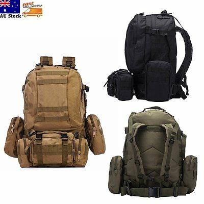 4 In 1 55L Outdoor Hiking Camping Bag Army Military Tactical Rucksacks Backpack
