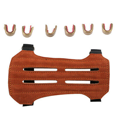 Archery Bow Arm Guard Bracer Protector with 6Pcs Bow Nock Set Hunting Target