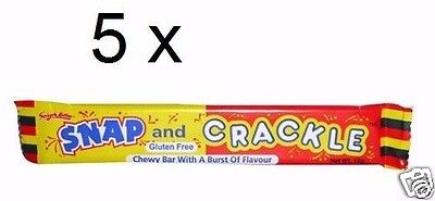 5 x Snap and Crackle chewy Lollies bars, 18g each