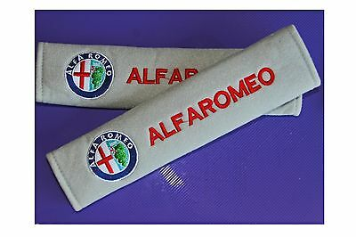 2 x ALFA ROMEO Grey Seat Belt Protectors velour with cotton stitched logo