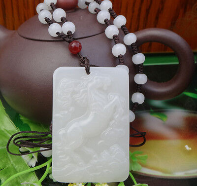 New Chinese handcarved Natural Nephrite White Jade Fine horse pendant necklace
