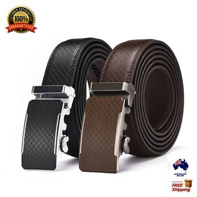 Autolock Men's Simple Automatic Buckle Leather Ratchet Belt Strap Jeans Gift