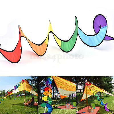 Rainbow Spiral Windmill Wind Windsock Camping Tent Home Garden Lawn Decor Toy