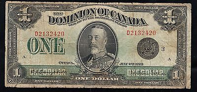 Canada BANKNOTE , $1, Fine 18 Black Seal,1923 YEAR