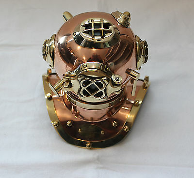 "8 "" Solid Copper Brass Diving Helmet Nautical U.S Navy Divers Mark V Maritime"