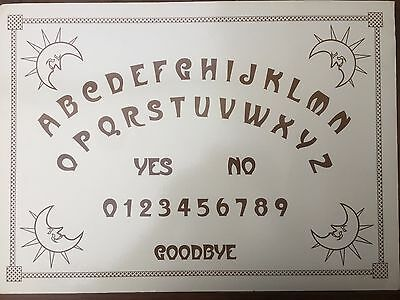1 X LAMINATED OUIJA BOARD SHEET - Halloween/Fortune Telling/Occult/Dowsing/Scry