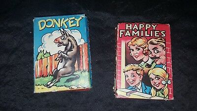 HAPPY FAMILIES & DONKEY CLIFFORD SERIES 1930s VINTAGE PLAYING CARDS GAMES