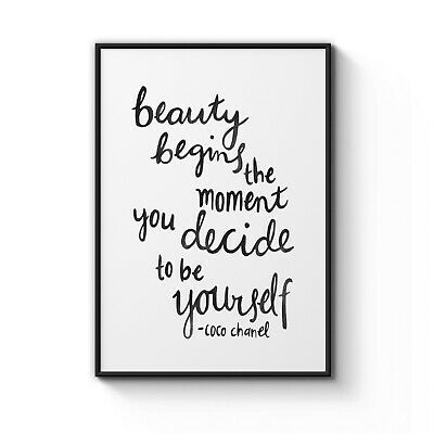 """COCO CHANEL """"Beauty Begins"""" Motivational Quote Art Poster Print A4 - A0 Framed"""