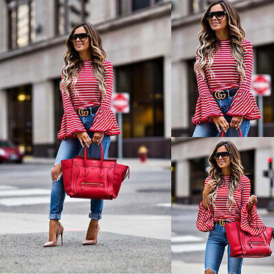 Women's Fashion Ladies Lace Long Sleeve Shirt Loose Casual Blouse Tops us