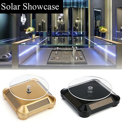 360° TurntableNew Solar Showcase  Rotating Jewelry Watch Ring Display Stand