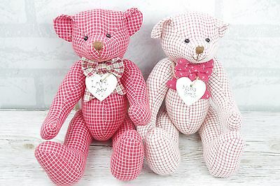 Personalised Jointed Teddy Bear Any Name on Heart Red Or White Checked Fabric