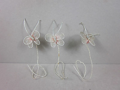 Vintage Miniature Butterfly Figurine Made Of Plastic Lace And Wire 3-Piece Lot
