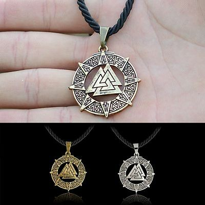 Odin's Symbol of Norse Retro Valknut Viking Warriors Pewter Pendant Necklace