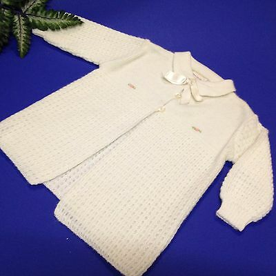 60's Vintage - Baby Girls Knitted White Matinee Jacket - Gedye Label 100% Orlon