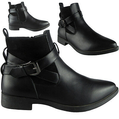 SALE Womens Ladies Buckle Strap Low Heel Casual Work Flat Ankle Boots Shoes Size