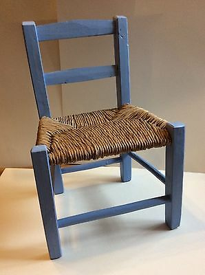 Small vintage rush seat Childs chair painted blue or dolls teddy display,rustic
