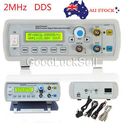 2MHz Dual Channel DDS Function Signal Generator Sine Square Wave Sweep Counter A