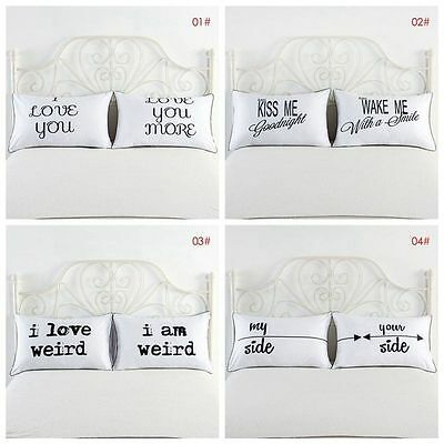 2pcs White Home&Hotel Standard Cotton Pillowcases Bed Letters Pillow Covers Case
