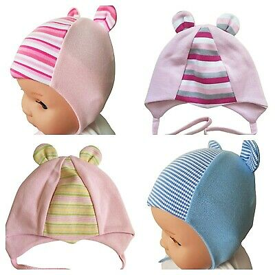 * Newborn *  White Pink Blue Yellow Green Baby Hats   With Laces  100% Cotton