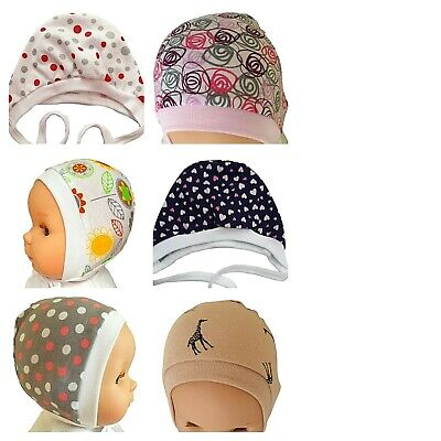 *0-3 Months*  Baby Hats   With Laces  White Pink Blue Yellow Green   100% Cotton