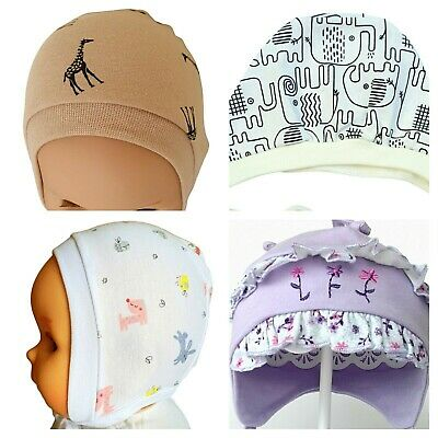 * 3-6 Months * Baby Hats   With Laces White Pink Blue Yellow Green   100% Cotton