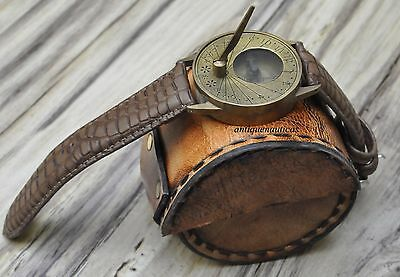 Nautical Vintage style Brass Sundial compass Wrist Watch with leather cover