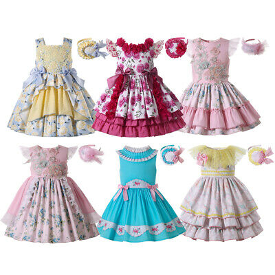 Girls Shirt+Check Skirt+Headband Cotton Princess Party Pageant Outfits Age 2-12