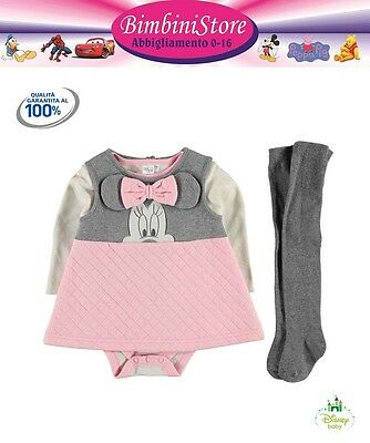 completo minnie neonata 3 pezzi t-shirt vestito body e collant originale Disney