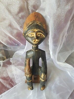 Collectable Wooden Tribal Hand-Carved Sculpture Seated Figure