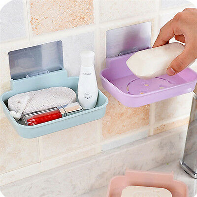 Bathroom Shower Soap Box Storage Plate Tray Holder Case Container Wall Stick