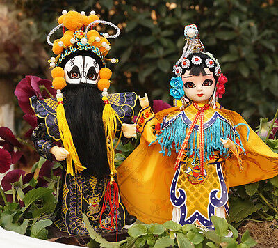 2Pcs 9''/22cm Q Version Peking Opera Doll Historical Chu King and Consort Yu