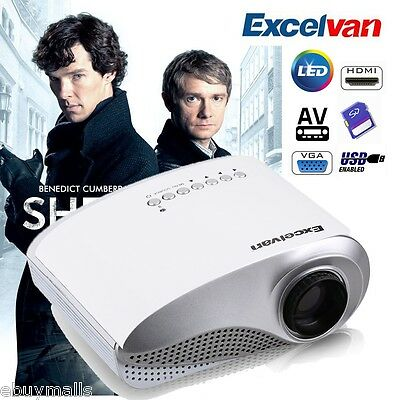 Excelvan Mini Proyector LED Multimedia 480*320 AV/VGA/HDMI/SD/USB 1000:1 60lumen