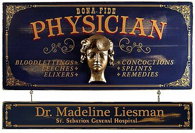 Personalized Female PHYSICIAN Vintage Wood Plank Sign, Office, Home, Gift