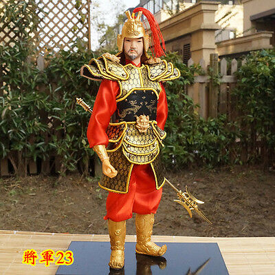 32cm Ancient Chinese Warrior Commander Figurine Silk PU Leather Cloth Soldier-23
