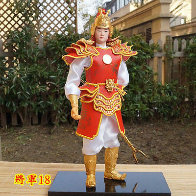 32cm Tall Ancient Chinese Commander Silk PU Leather Cloth Warrior Handmade