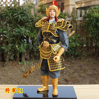 32cm Tall Ancient Chinese Commander  Handmade Collectible Warrior Statue-21