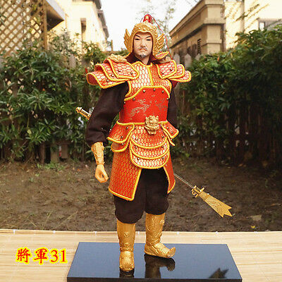 32cm  Ancient Chinese Handmade Military Warrior Commander PU Leather Cloth-31