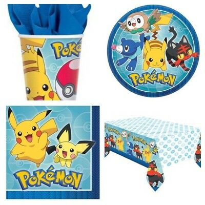 Pokemon New Birthday Party Kit For 8 Guests Cups Plates Napkins Table Cover