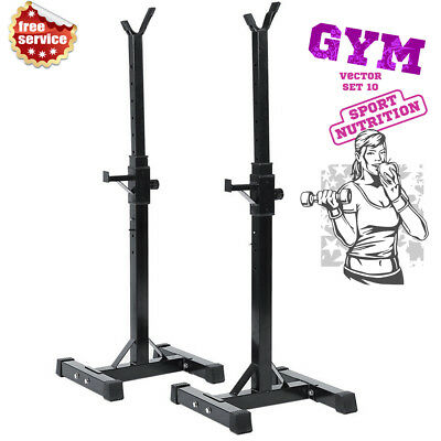 Strength Adjustable Gym Squat Barbell Power Rack Stand Weight Bench Support Sale