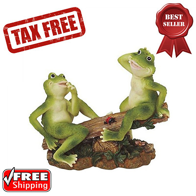 Frogs on Seesaw Figurine Statue Polyresin Outdoor Patio Lawn Garden Decor