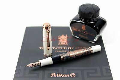 PELIKAN -THE STATUE OF ZEUS - EDELHARZ WEISS ROSE - GOLD 18kt. FEDER