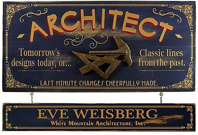 Personalized ARCHITECT Vintage Wood Plank Sign, Office, Home, Men, Women