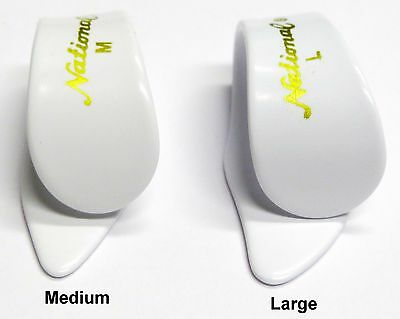 National White Thumb Pick for Guitar or Banjo in Medium or Large