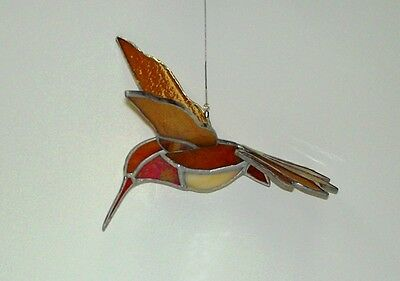 Rufous Humming Bird Stained Glass Sun Catcher Mobile.