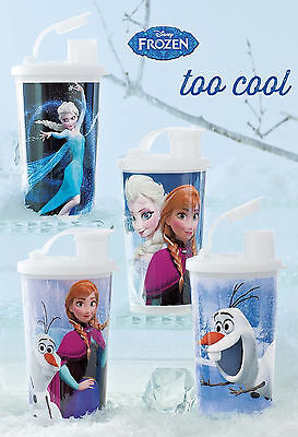 Tupperware Disney Frozen Small Tumblers With Flip Flop Spout Set (4) White New
