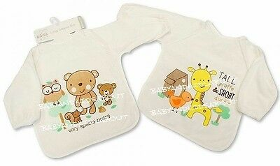 Baby Bib Coverall Apron with Long Sleeve, Waterproof Back, Boys, Girls 6 designs