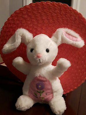Dan Dee Collectors Choice Plush Easter Bunny Rabbit White PINK Embroidered 12""