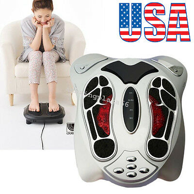 Circulation Blood Booster Electromagnetic Foot Massager Infrared +8 pads USA