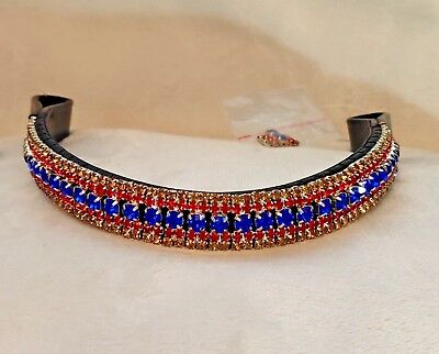 Red & Royal Blue Crystal & Leather Browband Black or Brown Pony cob Full (1)